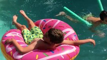 Doughnut Challenge - Giant Donut Pool Float Unboxing - Pool Toys - Pool Party Toys