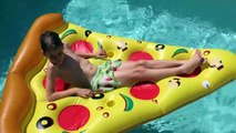 GIANT PIZZA! Pizza Challenge Worlds Largest Pizza GIANT Pool Party Pizza Challenge