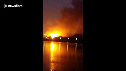Gas cylinder explosion in Chinese car park