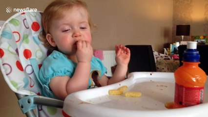 Toddler falls asleep while eating lunch