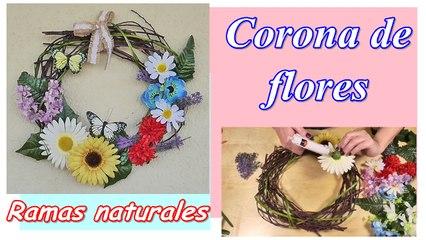 Cómo hacer una corona de flores con ramas naturales.