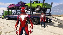 Spiderman Drives Car Carrier Trailer with Tons of Off Road Trucks SUV Colors Nursery Rhymes