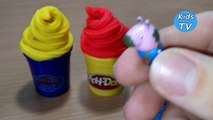 Learning Colors Play Doh Ice Cream Cone Surprise Toys for Children Peppa Pig and Hello Kitty ❤️