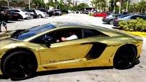 """Woww!! DAHSYAT mobil DILAPISI EMAS ini Pertama Dunia loh """" Lamborghini Aventador LP700-4 Lamborghini Veneno"""", pameran Lamborghini Dubai 2015"""