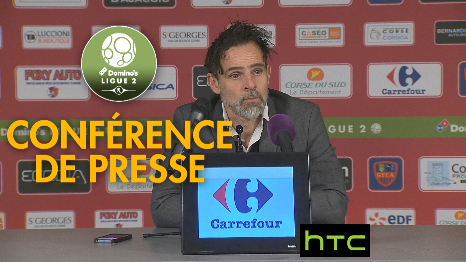 Conférence de presse Gazélec FC Ajaccio – Stade Lavallois (1-1) : Jean-Luc VANNUCHI (GFCA) – Marco SIMONE (LAVAL) – 2016/2017