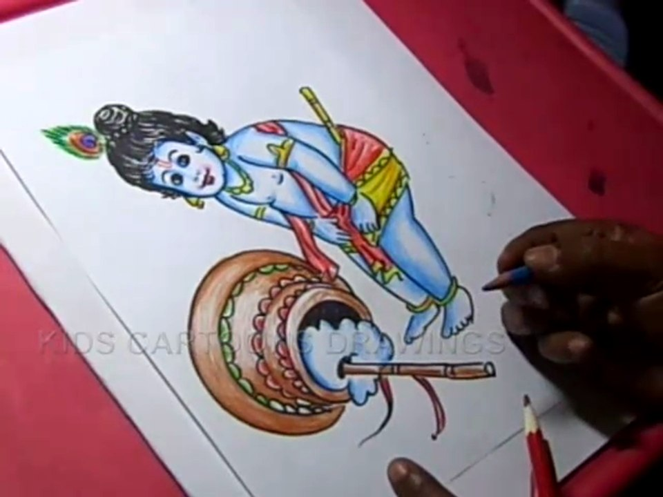 How To Draw Lord Little Krishna Drawing Video Dailymotion