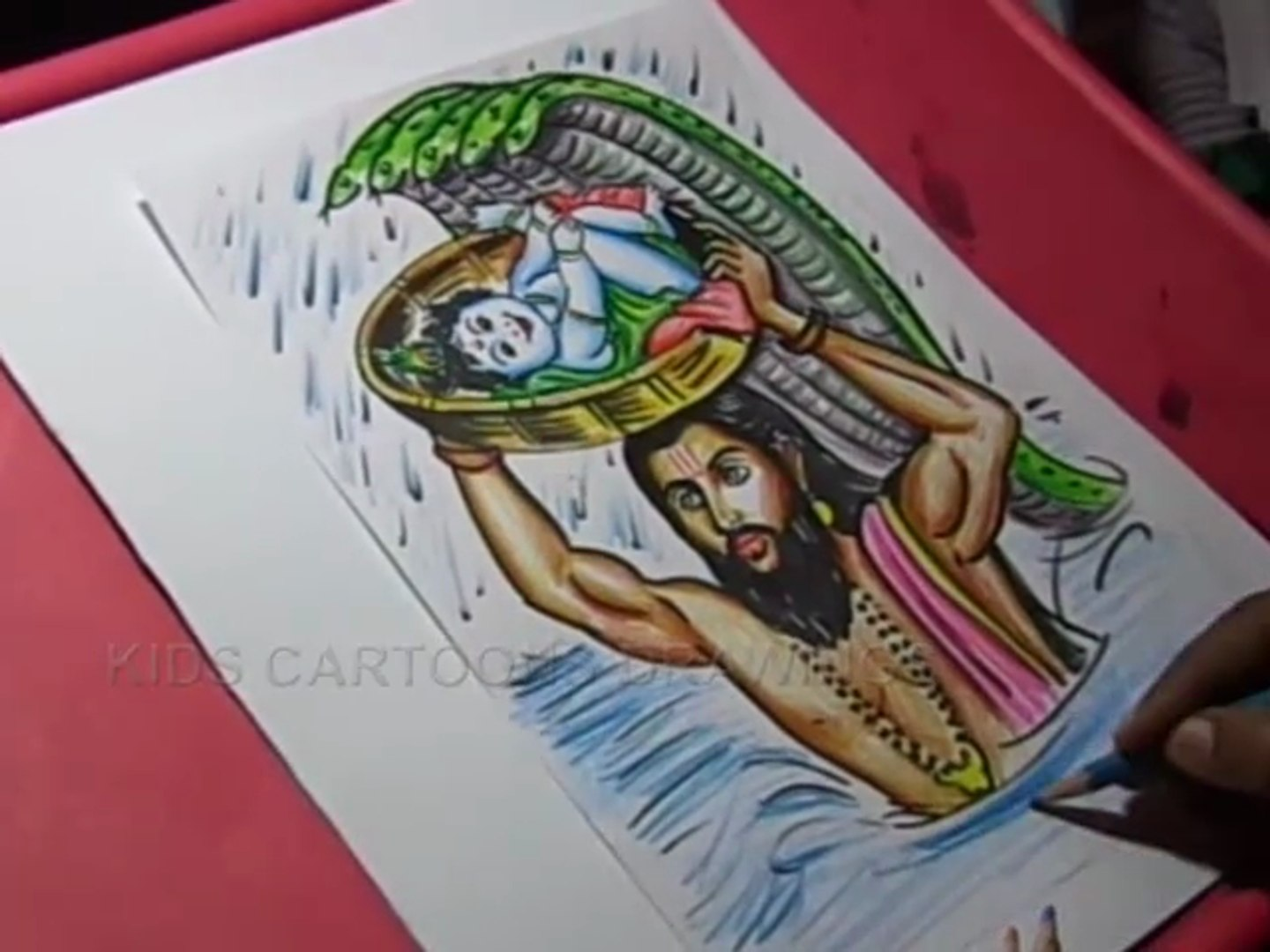 How To Draw Lord Krishna And Vasudeva Drawing Step By Step