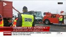 L'A13 coupée dans les Yvelines après un carambolage 4 blessés en urgence absolue, 55 blessés légers et 11 personnes ch