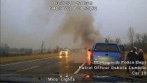 Un policier sauve une dame âgée de son véhicule qui commence à prendre feu