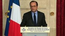 Discours lors de la réception de l'équipe de France de Handball
