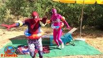 Spiderman in The POOL! w/ Pink Spidergirl vs Spiderman Swimming POOL prank! Frozen Elsa in Real Life