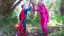 Spiderman & Pink Spidergirl Kissing at Funny Animal Farm vs Joker Prank Batman Frozen Elsa Comic lol