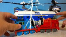 Quake Rain Wet Thomas the Fire Engine and James in the Rain with Super Big Lego Police Helicopter