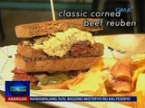 Classic corned beef reuben, sandwich na may corned beef, binurong repolyo at special dressing