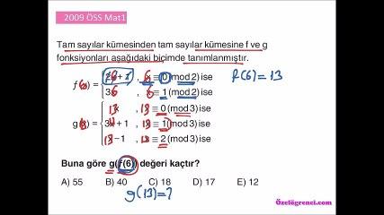 2009 ÖSS Mat1 Soruları ve Çözümleri
