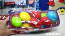 Play Doh and Mini Vehicles!! Spiderman Eggs, Construction Toys, Airplane Set, Fire Truck Set, Police