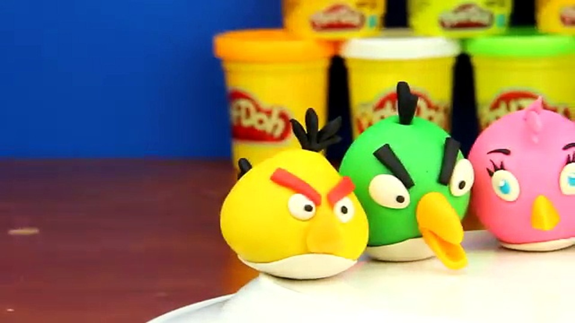 Play Doh Angry Birds, Red, Stella, Blue, Chuck, Hal, Bomb, and Matilda