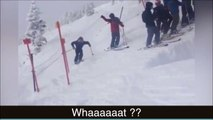 Un skieur se jette d'une falaise... Saut de dingue!