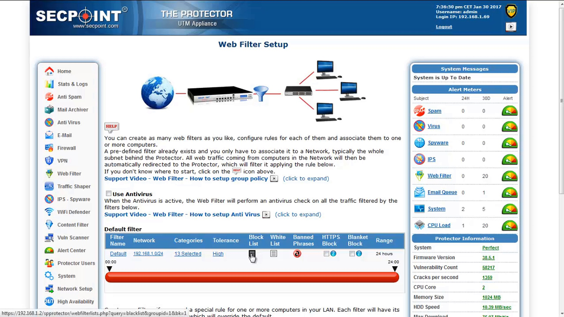 Protector UTM Firewall – How to Easily Block Social Media or other Large Sites