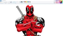 How I Draw using Mouse on Paint  - Deadpool Speedpaint