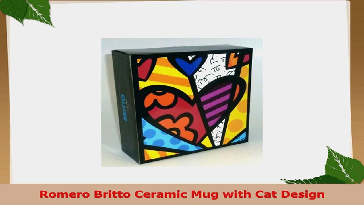 Romero Britto Ceramic Mug with Cat Design 295d386d
