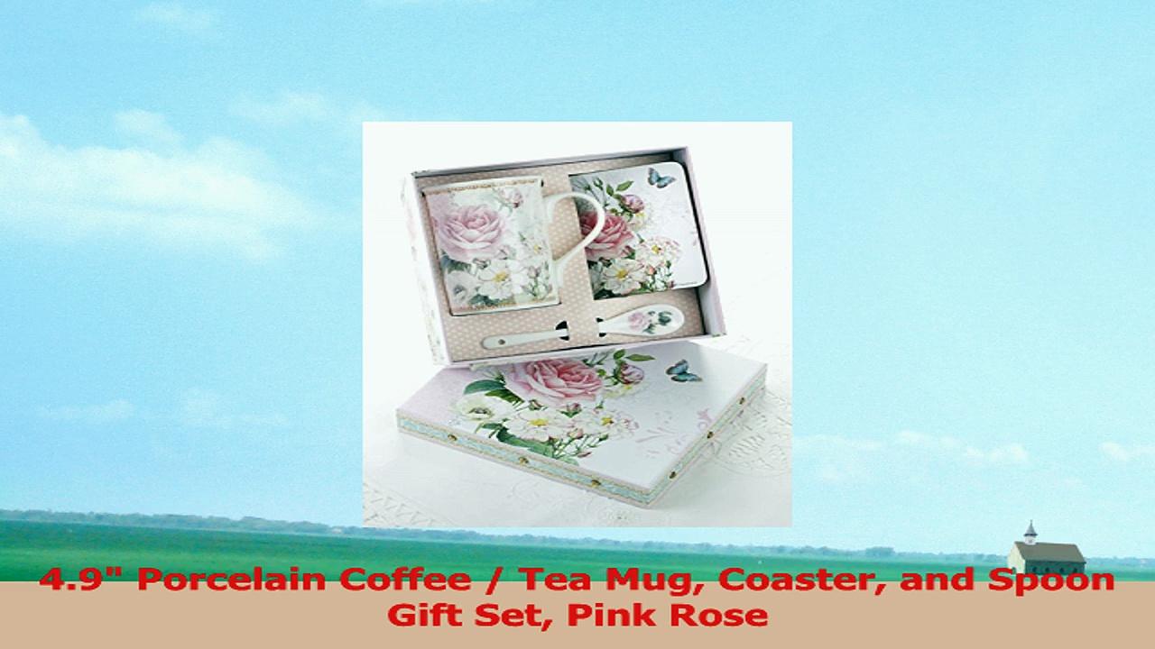 49 Porcelain Coffee  Tea Mug Coaster and Spoon Gift Set Pink Rose 1f91bcb2