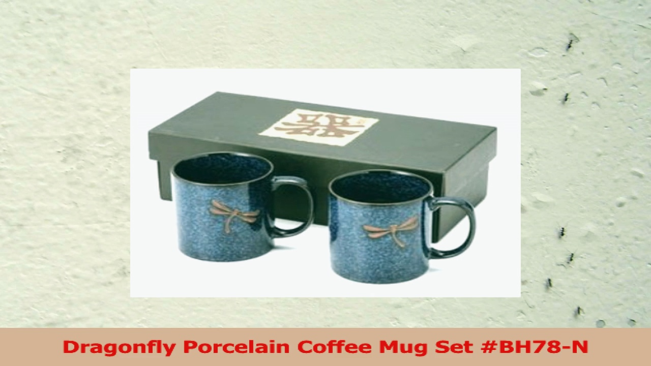 Dragonfly Porcelain Coffee Mug Set BH78N 3e387cd5