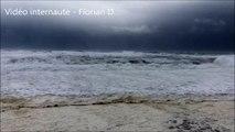 Tempête Marcel : mer d'écume à Capbreton