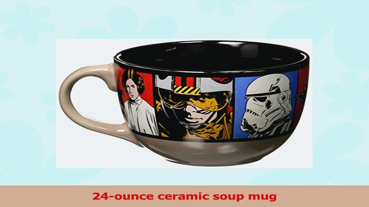 Silver Buffalo SW0524 Disney Star Wars Grid Ceramic Soup Mug 24Ounces White b01060d0
