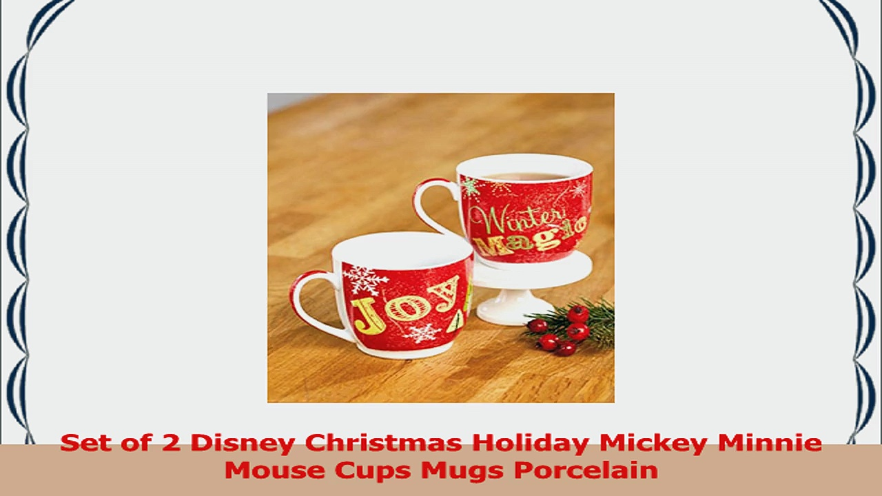 Set of 2 Disney Christmas Holiday Mickey Minnie Mouse Cups Mugs Porcelain 89e307e0