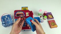 Toy electronic cash register pretend play with toy groceries and toy money play set