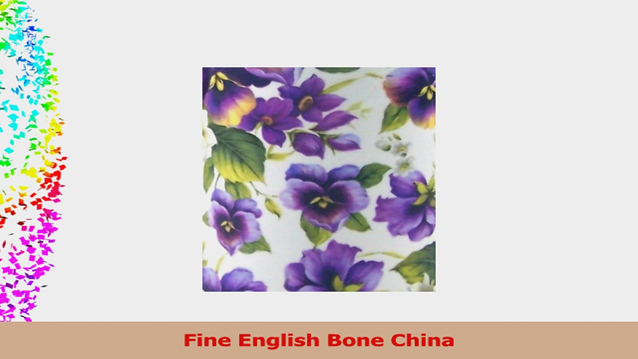 Pair Fine English Bone China Mugs Pansy Basket Chintz c3d50014