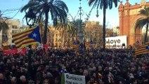 Els manifestants al passeig Lluís Companys el 6-F