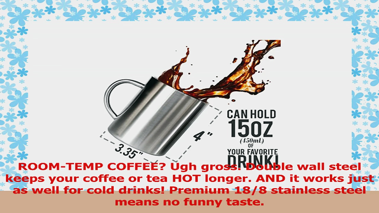 Stainless Steel Double Wall Mugs  Perfect for Coffee and Tea  Set of 2 15oz 450mL 2 63564807