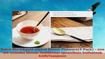 Autohome 5 Pieces Dinner Tableware Dessert Spoon Flatware  Retro BlackGolden 96a80c3e