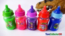 Learn Colors with Baby Milk Bottles Dino DINOSUAR CHOMPING T REX Drinking Milk Playing with Slime-_AAIHTF-hcA