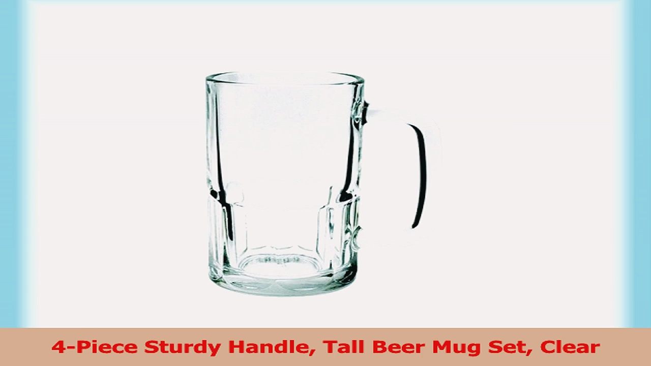 4Piece Sturdy Handle Tall Beer Mug Set Clear be85a57d