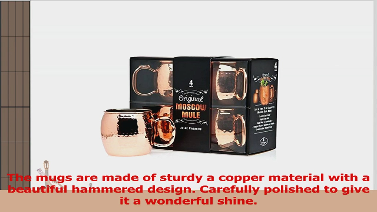 Jackys Original Handmade Copper Moscow Mule Mug Gift Set of 4 20 Oz Mugs Free Recipe Book baba8464