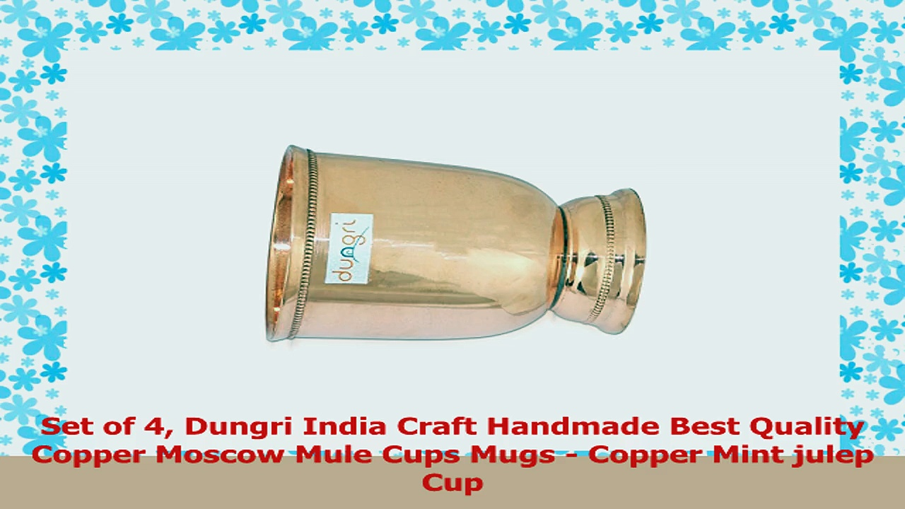 Set of 4 Dungri India Craft Handmade Best Quality Copper Moscow Mule Cups Mugs  Copper 7a8794d7