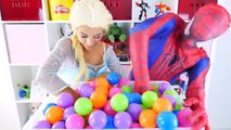 Spiderman & Frozen Elsa Ball Pit Show Surprise Eggs In Real Life Superheroes