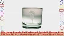 Sea Horse Double Old Fashioned Cocktail Glasses 14oz Gift Box Set of 4 Glasses Nautical 83485e95