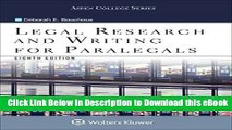 [Read Book] Legal Research and Writing for Paralegals (Aspen College) Mobi