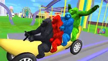 Crazy Gorilla Banana Car Roller Coaster | Animals Learning Short Movies | Animals Rhymes Compilation