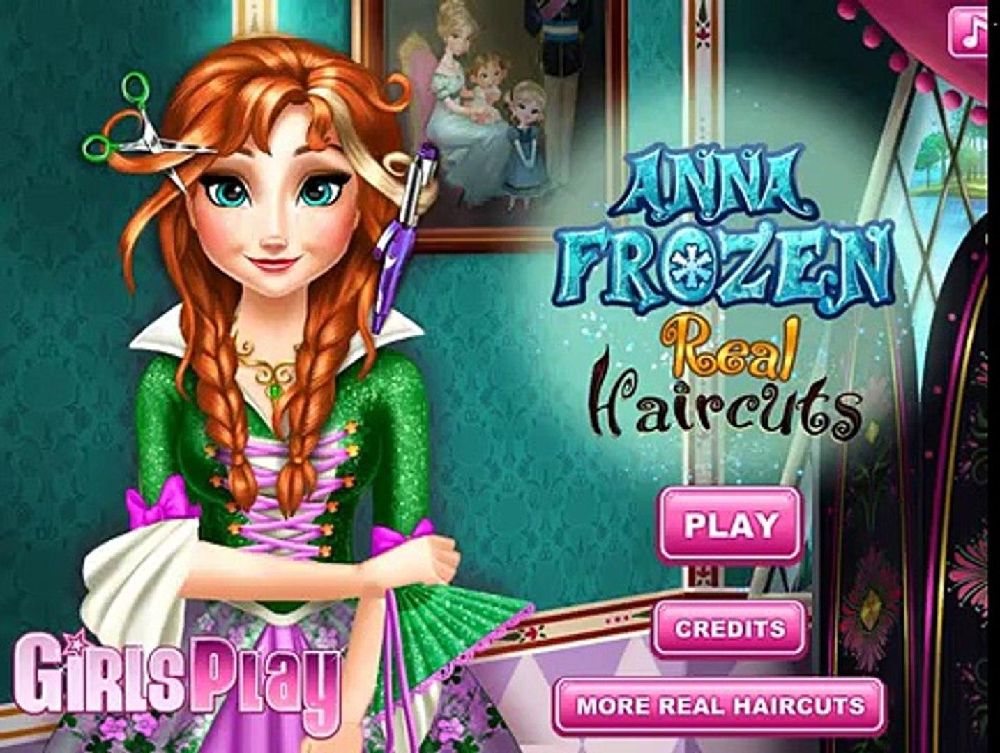 Анна Frozen Игры—Дисней Принцесса Анна Хиппи прическа—Онлайн Видео Игры Для Детей Мультфильм new