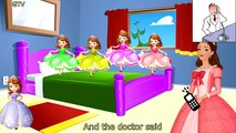 Five Little Sofia The First Jumping on the Bed | 5 Little Monkeys Jumping on the bed Nursery Rhymes