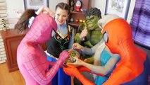 Frozen ELSA hairy in MIRROR! w/ Spiderman Frozen Anna Joker Jokergirl Maleficent Superhero Fun IRL!