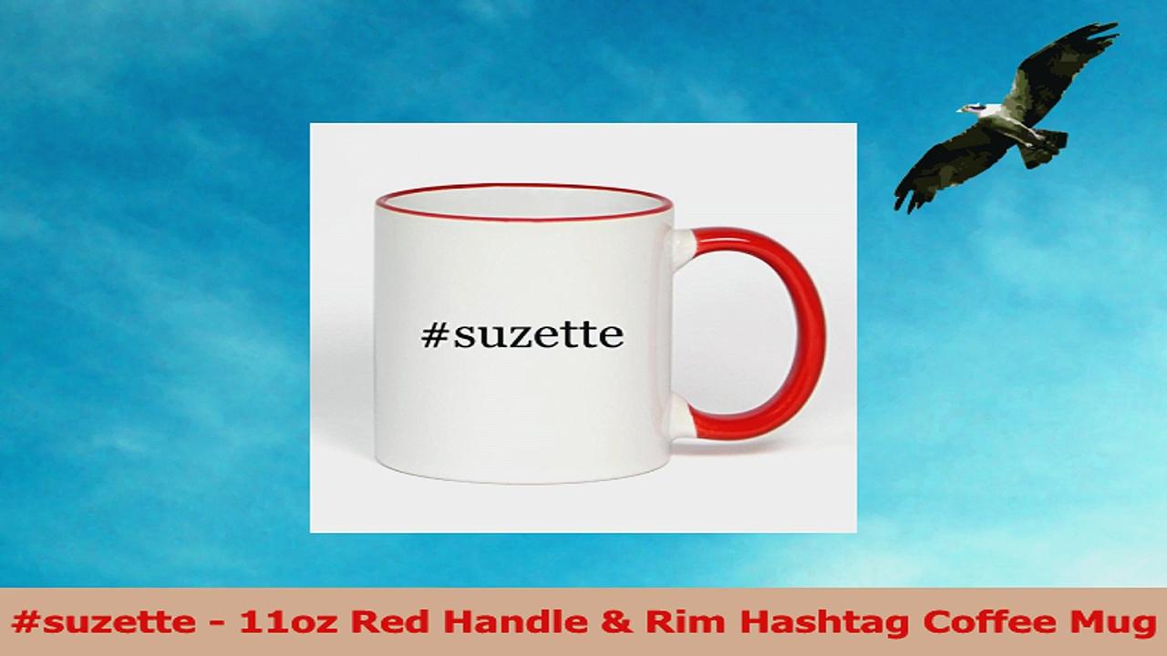 suzette  11oz Red Handle  Rim Hashtag Coffee Mug c841ae4e