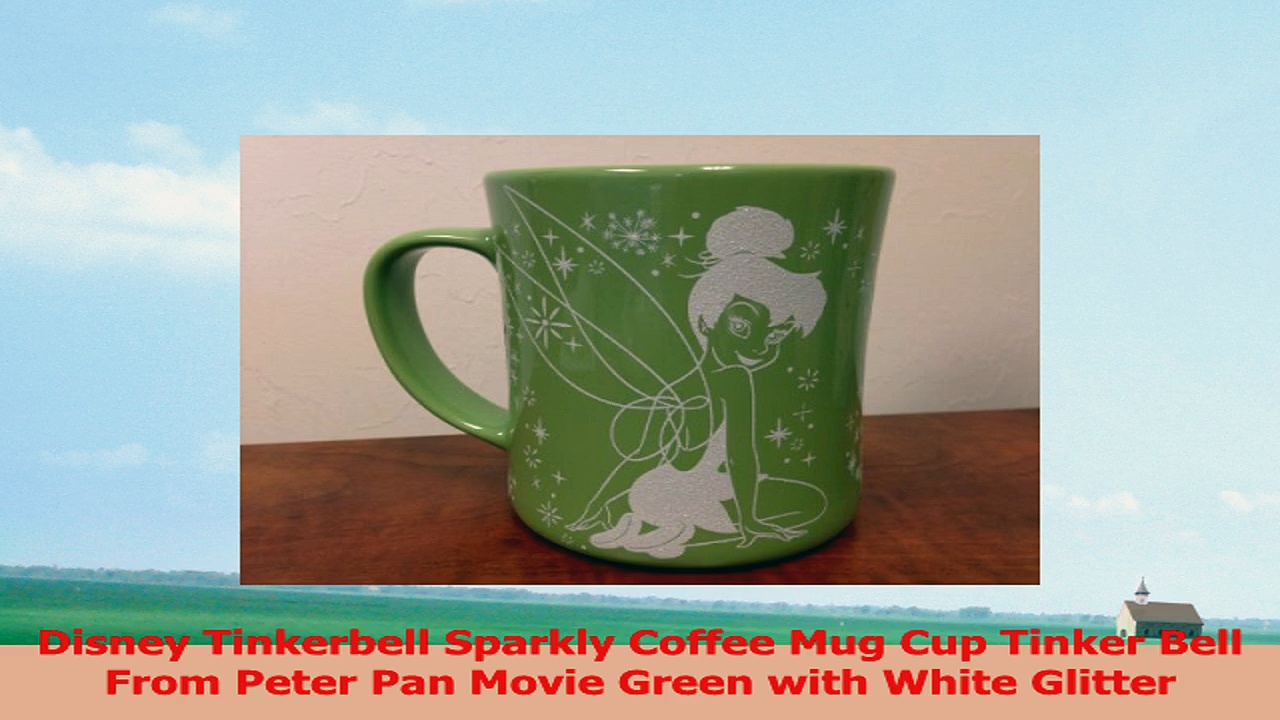 Disney Tinkerbell Sparkly Coffee Mug Cup Tinker Bell From Peter Pan Movie Green with White 885b5eee
