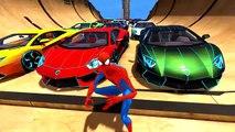 Spiderman Colors Drives like Madman Lamborghini Aventador Super Cars Colors Crazy Ramp Jumps