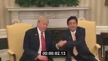 Donald Trump awkward Handshaking with the Japanese prime minister Shinzo Abe